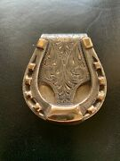 Edward H Bohlin Sterling Silver And Gold Engraved Money Clip