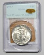 1937-p Walking Liberty Half Dollar Pcgs Ogh Rattler Ms64 And Gold Cac Amazing Coin