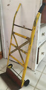 Rare Antique Childandrsquos Push Toy Yellow And Red Hand Trucks 28x11 Works Great