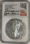 2021-s Type-1 Silver Eagle Ngc Ms 70 Emergency Production Anna Cabral Signed