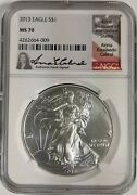 2013 Silver Eagle Ngc Ms 70 Anna Cabral Signed