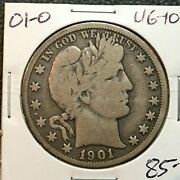 1901-o Vg-fine Barber Half Dollar Lity And A Bit B,e And R Better Date