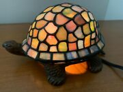 Style Stained Glass Turtle Accent Lamp Night Light New In Box Nib