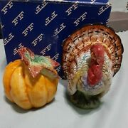 Fitz And Floyd Thanksgiving Turkey And Pumpkin Salt And Pepper Shakers 1993