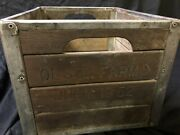 Very Rare Antique 1952 Olson Farms Wood And Metal Milk Crate Large Heavy Nice