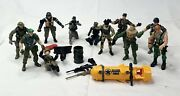 Vintage Gi Joe Action Figure Lot Of 11 Figures And Accessories