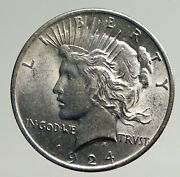 1924p Us Antique Silver Peace Dollar United States Coin W Liberty And Eagle I93634