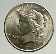 1924p Us Antique Silver Peace Dollar United States Coin W Liberty And Eagle I93637