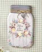 Charming Country Lighted Canvas Mason Jar Bless This Home Wall Art Hanging