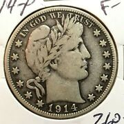 1914-p Fine- Barber Half Dollar Lity And Top Of Be And R Low Mintage