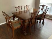Antique Dining Room Table And Chairs Mahogany 20th Century