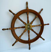 36and039and039 Nautical Antique Brass Ship Wheel Wooden Boat Steering Wall Home Decor