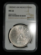 Ngc Ms62 1902 Mo Am Mexico Silver Un Peso Cap And Rays Coin Mexico City Mint