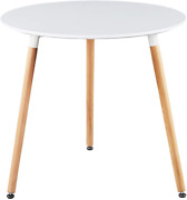 Greenforest Dining Table White Modern Round Table With Wood Legs For Kitchen Liv