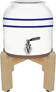 Geo Sports Porcelain Ceramic Crock Water Dispenser, 8 Inch Wood Stand, Stainless