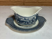 Royal China Usa - Currier And Ives Gravy Boat And Underplate Lot/set Of 2