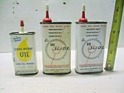 3 Old Vintage Oil Tin Cans Sewing Machine Oil Bux Dri Slide Lubricant 1960