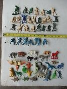 Lot Of 50 Old Vintage Plastic Misc. Army Men Animals Baseball Players 1950s