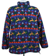 Ll Bean Fleece Pullover Christmas Vintage Size Large Womens Jacket Snap Usa 90s