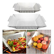 1pc Heavy Duty Bbq Veggie Grill Basket For Meat Grid Pan Non Stick Bbq Accs