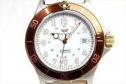Glycine White Dial Brown Bezel Automatic Combat Sub Menand039s Leather Belt Used