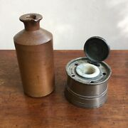 Early C19th Pewter Capstan Inkwell + Ceramic Liner And Lid + Stoneware Ink Bottle