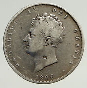 1826 Uk Great Britain United Kingdom King George Iv Silver 1/2 Crown Coin I93694