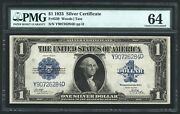 1923 1 Silver Certificate Banknote Fr-239 Pmg Certified Choice Uncirculated-64