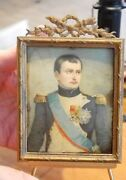 Antique Napoleon Tin Type Miniature Portrait With Gold Gilt Frame And Stand