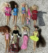 Lot Of 8 Barbie Dolls Mixed Clothing Dolls Accessories 90s Totally Hair