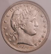 1914 Barber Quarter, Ngc Ms-64. Light Toning Looks New From A Roll