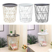 Modern Side Table Storage Basket Round End Tables For Office Farmhouse