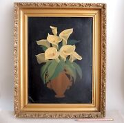 Antique Victorian Calla Lily Painting 1880s Early American Folk Art Still Life