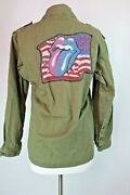 The Rolling Stones Mens Vtg Army Green Military Jacket Patch Flag Tongue Sz S/m