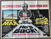 Mad Max 1 And 2 Original Film Cinema Quad Poster Mel Gibson Very Rare Collectable