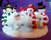 Holiday Dancing Snowman Candle Holder Partylite