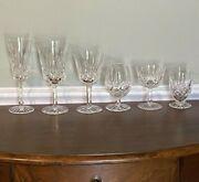 Waterford Lismore Lot Of 6tall Flute Water Wine Small Brandy Juice And Champagne
