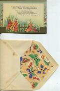 Vintage 1930and039s Garden Gladiolus Flowers Fence Motto Illuminated Greeting Card