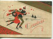 Vintage Christmas 1930and039s Art Deco Ice Skater Skating Red Gold Greeting Art Card