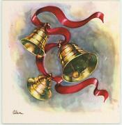 Vintage 1950and039s Christmas Gold Bells Swirls Red Ribbon Greeting Card Art Print