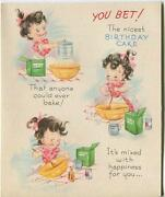 Vintage Cook Pastry Baker Flour Mixer Stove Pink Birthday Cake Greeting Art Card