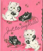 Vintage Pink White Cats Kittens Black Dial Old Phone Embossed Greeting Art Card