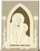 Vintage Christmas Embossed White Silhouette Madonna Child Child Greeting Card