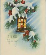 Vintage Red House Snow Winter Pine Tree Wind Berries Candle New Year Card Print