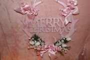 Shabby Pink Merry Christmas Wall Plaque..w Deer Antlers.. Pink Roses..