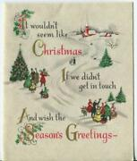 Vintage Christmas Tree Cello Carolers Church Victorian Snow Holly Greeting Card