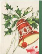 Vintage Christmas Red Bell White Ribbon Holly Horse Sleigh Greeting Card Print