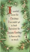 Vintage Christmas Pine Tree Branches Ornaments Green Glitter Mcm Greeting Card