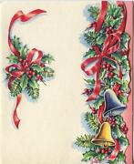 Vintage Christmas Red Ribbon Bells Pine Needles Holly Lithograph Card Art Print