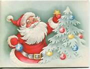 Vintage Christmas Santa Claus Decorations Ornaments White Tree Embossed Art Card
